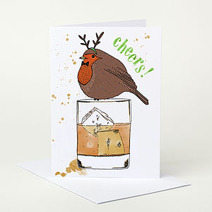 Robin With Whiskey Christmas Card Sale - seasonal cards