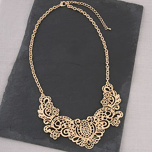 Gold Filigree Bib Necklace - necklaces & pendants