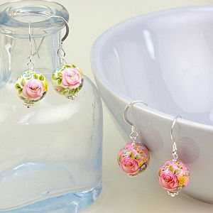 Handmade Rose Bead Earrings - earrings