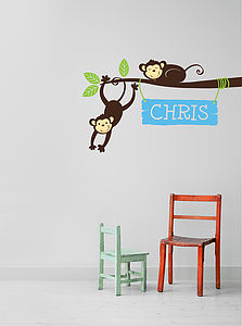 Personalised Monkey Branch Wall Stickers - wall stickers