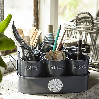 Gardeners Tidy Pots in Slate Grey finish