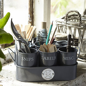 Gardeners Set Of Nine Potting Shed Tidy Pots - storage