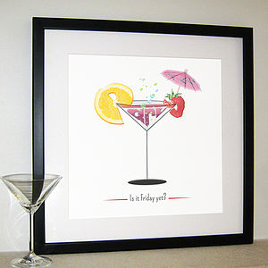 'Is It Friday Yet?' Cocktail Print