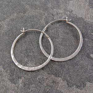 Battered Silver Small Hoop Earrings - earrings