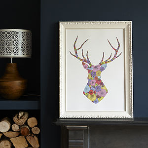 Spring Stag's Head Print - art-lover