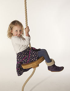Around We Go Round Oak Rope swing - garden