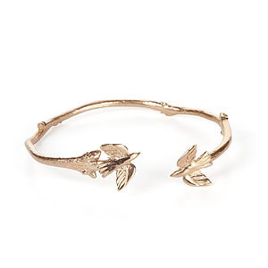 Fly Away With Me Bird Bracelet In Gold - bracelets & bangles