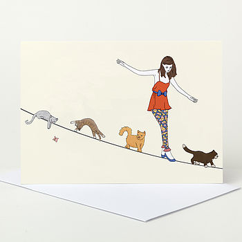 Teenage Girl And Cats Birthday Card