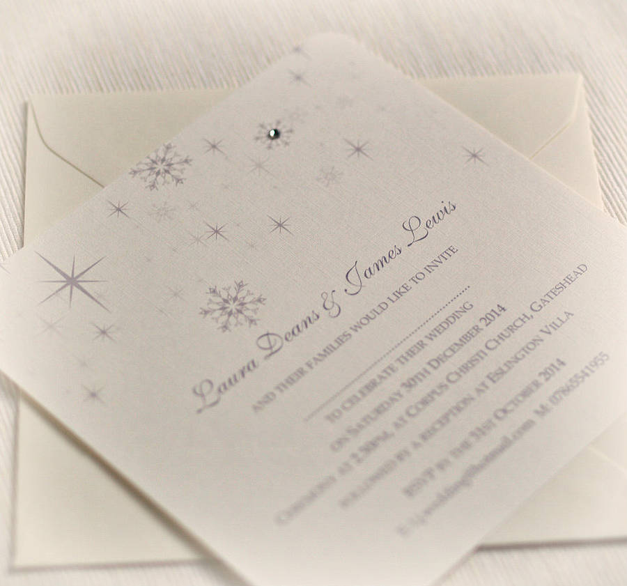 Snowflake Winter Themed Wedding Invitations By Beautiful Day