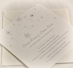 Snowflake Winter Themed Wedding Invitations - wedding stationery
