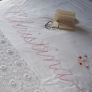 Personalised Embroidered Script Duvet Cover