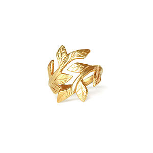 18k Gold Plated Sterling Silver Laurel Leaf Ring