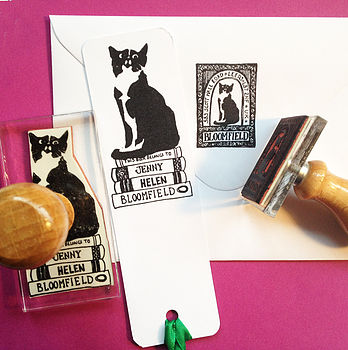 Personalised Cat Book And Address Stamps