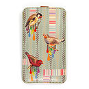 Birds And Stripes Leather Phone Case