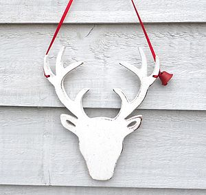 Wooden Stags Head Christmas Decoration