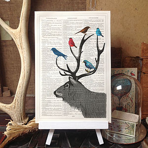 Antique Dictionary Stag Deer And Birds Print - mixed media & collage