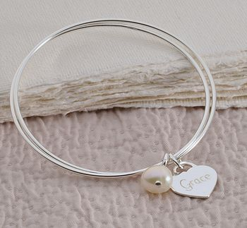 Personalised Silver Double Bangle