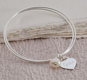 Personalised Silver Double Bangle - women's jewellery
