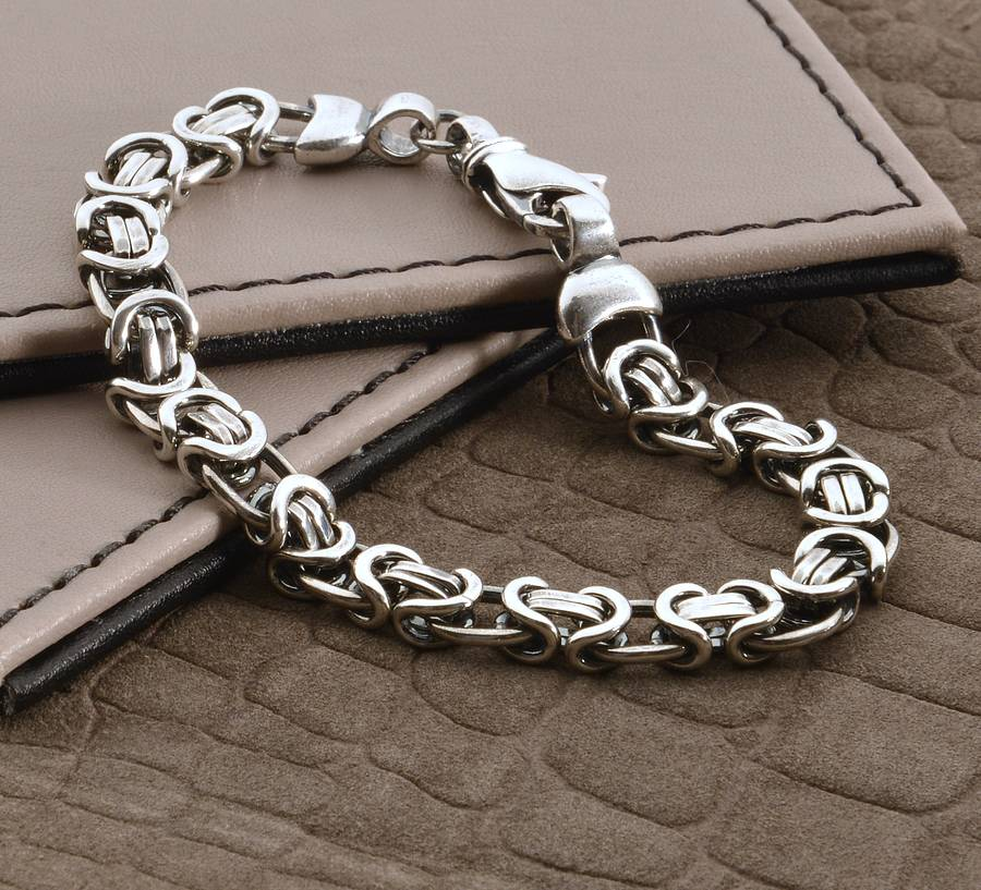 men\'s heavy silver chain detail bracelet by hurleyburley man ...