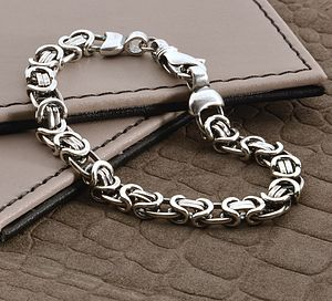 Men's Heavy Silver Chain Detail Bracelet - gifts by budget