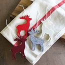 Box Of 12 Felt Reindeer Decorations