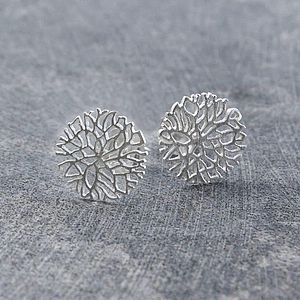 Frost Sterling Silver Circular Stud Earrings - women's jewellery