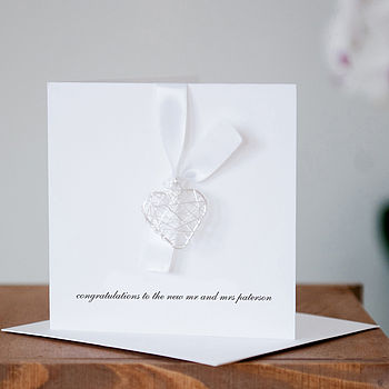 Personalised Wedding Day Wire Heart Card