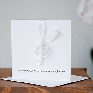 Personalised Wedding Day Wire Heart Card - wedding, engagement & anniversary cards