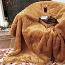 Large Luxury Camel Faux Fur Throw Throw