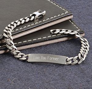 Men's Personalised Solid Sterling Silver ID Bracelet - bracelets