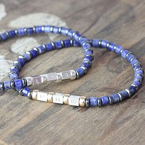 Mens Blue Sodalite Secret Message Bracelet - into the blue