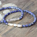 Mens Blue Sodalite Secret Message Bracelet
