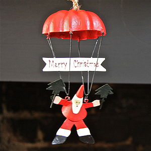 Christmas Santa On Parachute Decoration