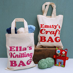 Personalised Craft Or Knitting Mini Shopper - children's storage