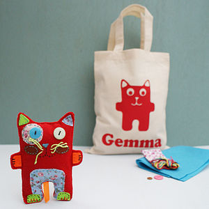 Charlie Cat Craft Kit And Personalised Bag - creative & baking gifts