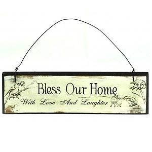 'Bless Our Home' Quote Wooden Sign