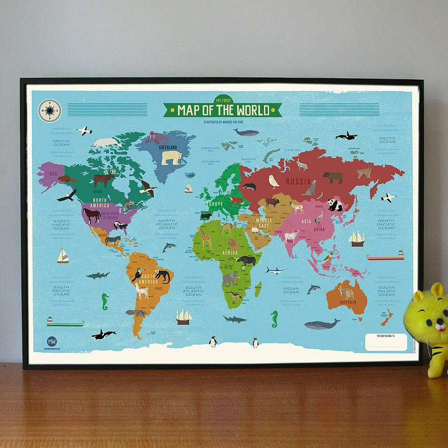 My First World Map Poster By Marcus Walters Studio