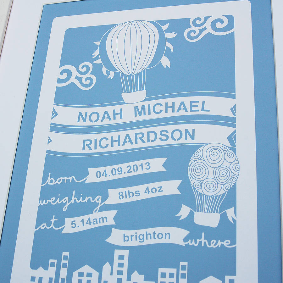 Personalised Baby Wall Art Print