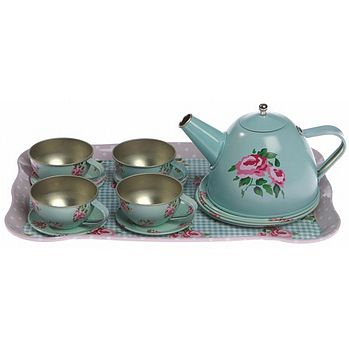 Rose Print Tin Tea Set