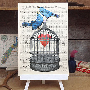 Love Birds Birdcage Vintage Music Book Page Print