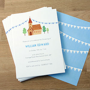 Personalised Boy's Christening Invitations - parties