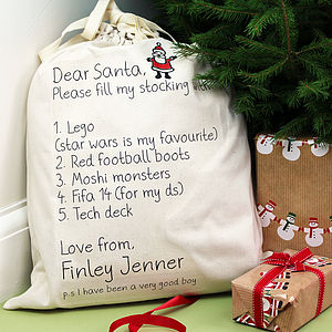 List To Santa Present Sack
