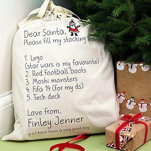List To Santa Present Sack