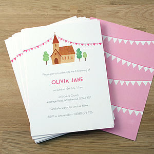 Personalised Girl's Christening Invitations - naming day & christening invitations