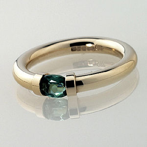 Tension Set Gold Ring With Green Tourmaline - jewellery