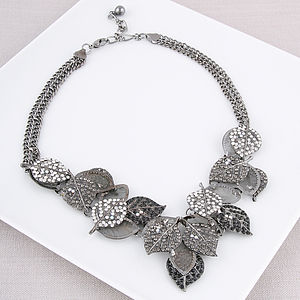 Gun Metal And Crystal Leaf Necklace - necklaces & pendants