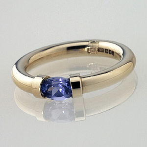 Tension Set Gold Ring With Tanzanite