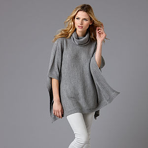 Baby Alpaca Roll Neck Poncho - january blues, greens & greys