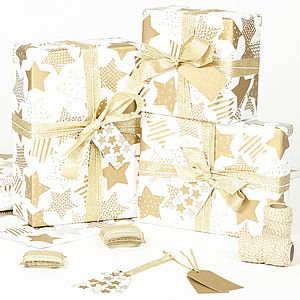 Gold Stars White Wrapping Paper - gift wrap sets