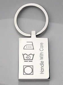 Engraved Washing Instruction Key Ring - metal keyrings